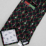 "59"" HOLIDAY W0VEN HEAVY CANDY CANE BLACK ORNAMENT Christmas Neck tie X6-33 New"