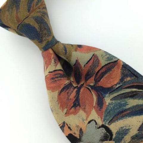 Structure US Made Floral Blue Peach Rayon Mens Necktie M3/R-50 Excellent Ties