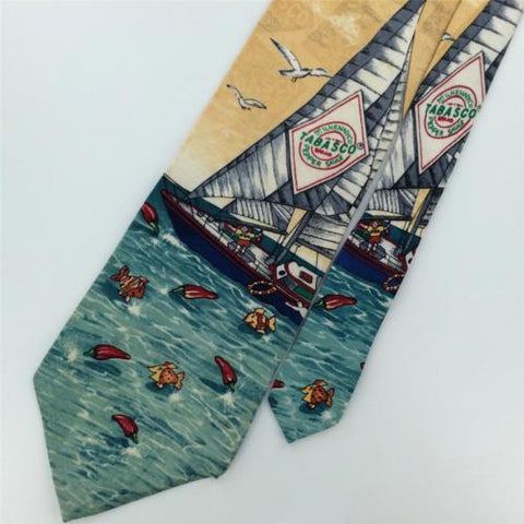 TABASCO SAILING BOAT FISHES Birds Silk Mens Neck Tie N1-50/F