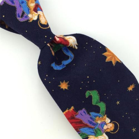 Vintage ANONYMOUS BLK ANGELS STARS Christmas Cotton Handmade Necktie Tie CX6-254