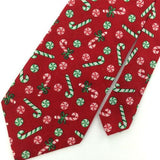 Vtg TANGO TIES RED CANDY CANE Christmas Ribbon Cotton Handmade Necktie CX6-353