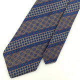 DAKS DD US MADE NARROW GEOMETRIC FLORALStripe GRAY BLUE Necktie I1-199 Ties