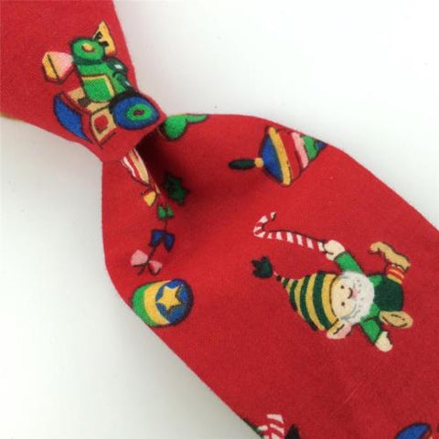 70S Vintage RED SANTA TRAIN HORN Christmas Cotton Handmade Necktie Tie #CX6-246