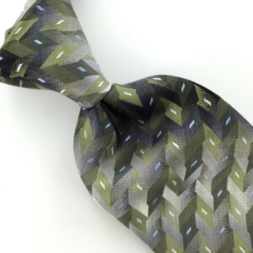 DOCKERS OLIVE GREEN GRAY 3D Zigzag Woven Silk Men Necktie Tie I1-1117  Excellent