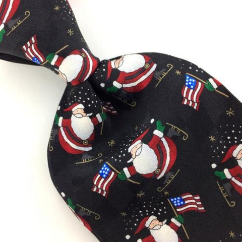 HOLIDAY TRADITIONS SANTA US FLAG BLACK Silk Christmas Necktie Ties X1-144 New