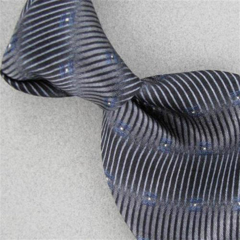 Bill Blass Silver Sky Blue Stripe Geometric Silk Men Neck Tie #Z1-160 Excellent