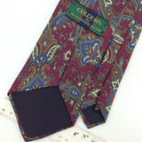 COLOURS ALEXANDER JULIAN US MADE NARROW FLORAL BROCADE MAROON Blue Necktie I1-75