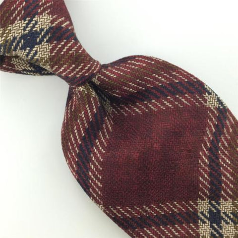 LANDS END MAROON Black STRIPED Plaid WOVEN Silk Mens Neck Tie H2-232 Excellent