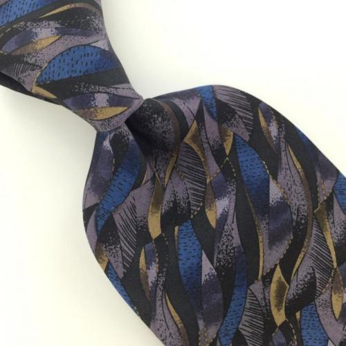 HONORS US MADE ABSTRACT Waves VIOLET BLUE BROWN Silk Necktie I1-472 EUC Ties
