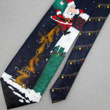 YULE TIE GREETINGS HALLMARK SANTA REINDEER BLACK Christmas Necktie X6-22 New