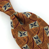 FERRELL REED US HANDMADE GEOMETRIC BROWN Silk Men Necktie I1-584 Excellent Ties
