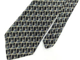 GEOFFREY BEENE BLACK GRAY SQUARE GEOMETRIC Silk Mens Neck Tie H2-1 Excellent