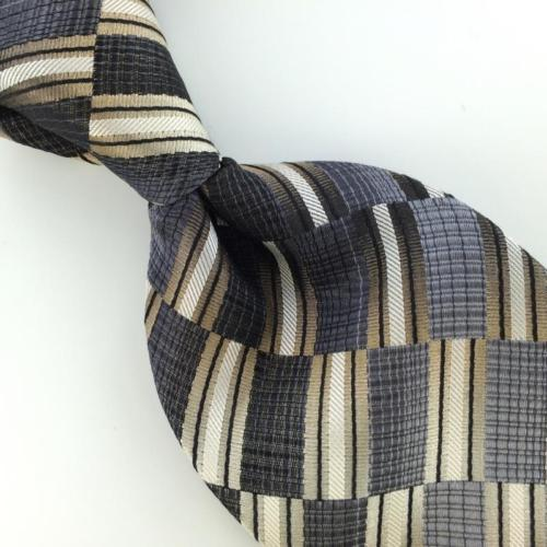 A CLAIBORNE HEAVY STRIPED/ChecKer BROWN Gray Woven Silk Men Necktie Tie I1-1018