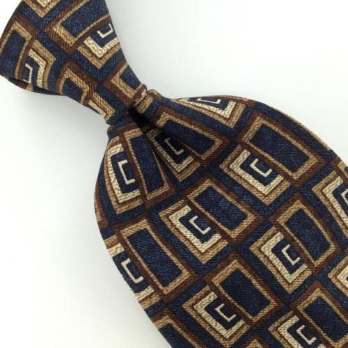 GUESS US MADE RECTANGLES Geometric Navy BROWN Silk Men Necktie I1-20 EUCTies
