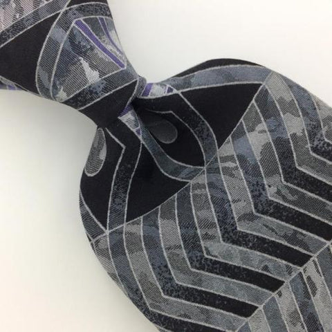 CONTE DI MILANO US Geometric Arrow CIRCLE SILVER GRAY Silk Necktie Tie I6-37 New