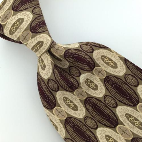 BARRINGTON US MADE Linked Ovals BROWN Beige Silk Men Necktie I1-856 EUC Ties