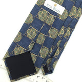 BILL BLASS Blue Olive Green GEOMETRIC Art Deco Circle Silk Neck Tie H2-270 EUC