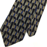 CROFT BARROW US MADE BLACK 3D GEOMETRIC BLUE Silk Men Classic Necktie I2-157 Tie