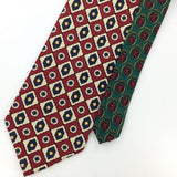 TOMMY HILFIGER US MADE GEOMETRIC MAROON/Red BlueS ilk Classic Necktie I2-542 Tie