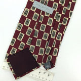 HALSTON US MADE Checkered Art MAROON Silk Men Classic Necktie I2-531 Ties