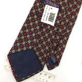 ROUNDTREE YORKE TIE US CHECKERED RED ART DECO BLK Silk Necktie Ties I6-235 NWT