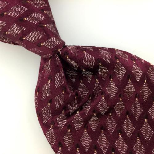 CALVIN KLEIN MAROON JACQUARD DIAMONDS Micro Dots Silk Men Necktie Tie I2-316 New