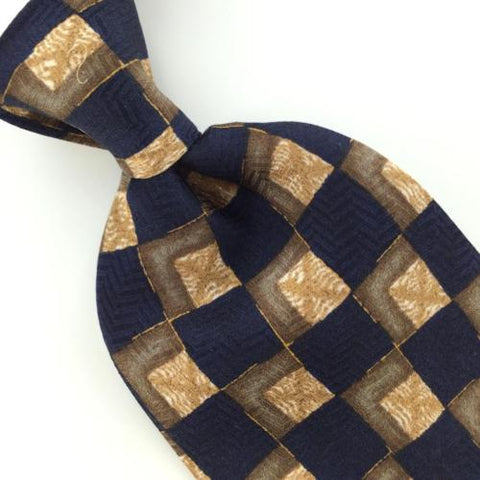 "59"" Long J.Z. Richards US Made Blue Brown Checkered Silk Necktie M3-19 EUC Ties"