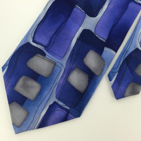 "59 1/2"" J. Garcia Abstract Geometric Blue Gray Silk Neck Tie Lot#M1/58 Excellent"