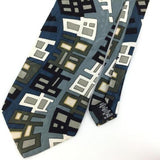 FACETS US MADE GEOMETRIC TURQUOISE GRAY Silk Men Necktie I1-260 Excellent Ties