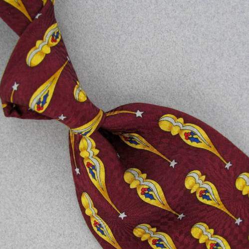 XYZ ZINC YELLOW MAROON SHOOTING STARS Silk Men's Neck Tie #Z1-21 Excellent