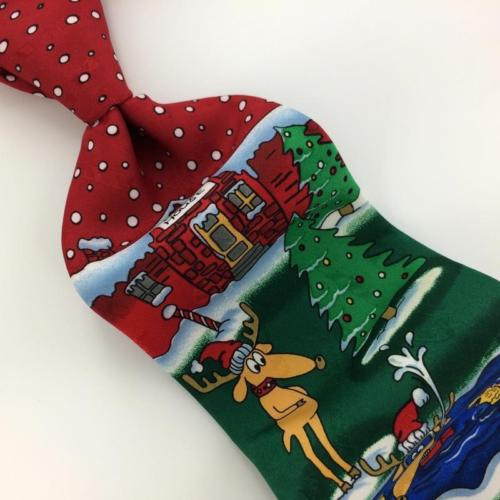 YULE TIE GREETINGS SANTA RED GREEN Christmas Men's Necktie tie #XP1-249 New