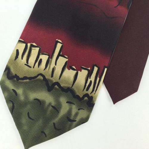 J GARCIA DAWN AT THE RITZ CARLTON MAROON Olive Green Silk Men Necktie I2-396 Tie