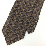 STAFFORD US MADE GEOMETRIC Shapes BROWN Black Silk Classic Necktie I2-344 Ties