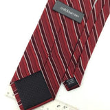 CROFT BARROW Red Black NARROW STRIPED Woven Silk Men Necktie Tie I1-1069 EUC