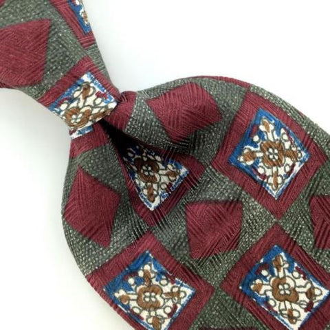 ABERCROMBIE FITCH US MADE GEOMETRIC ART DECO MAROON Silk Men Necktie I4-441 Ties