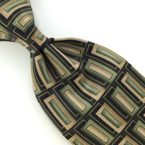 59'' LONG STAFFORD RECTANGLES OLIVE GREEN BLACK Necktie I1-400 New Ties