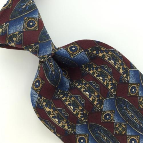 BILL BLASS ART DECO  MAROON BLUE Gray Silk Men Classic Necktie I2-86 Ties