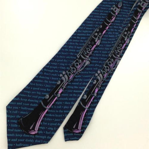LIMITED EDITION NAVY Black Musical Clarinet Music BAND Silk Neck Tie N1-104 New