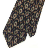 WOODWARD TIE US MADE GEOMETRIC Floral BLACK Turquoise Silk Necktie Ties I6-147