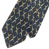 HENRY GRETHEL US MADE GEOMETRIC Steel/BLUE BrownSilk Men Necktie I1-597 EUC Ties