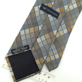 DOCKERS SQUARES Check BROWN GRAY Woven Silk Men Necktie Tie I1-988 Excellent