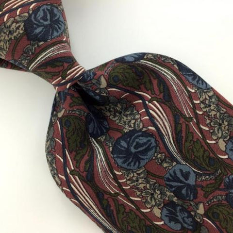 ALFANI US MADE FLORAL STEEL BLUE MAROON Silk Men Necktie I4-84 Excellent Ties