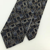 CONCEPTS CLAIBORNE RECTANGLE Shape Silver BLUE BLACK Woven Necktie Tie I1-1156