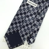 PIERRE CARDIN BLACK GRAY GEOMETRIC Checkered Silk Mens Neck Tie H2-257 Excellent