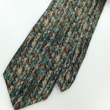 CELLINI US MADE PAISLEY Art TURQUOISE Silk Men's Short Necktie #I1-691 EUC Ties