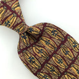 HUNTING HORN Floral DECO MAROON GOLD Silk Men Necktie I1-226 Excellent Ties