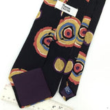 WYNWOOD COLLECTION US MADE Black Peach ABSTRACT Silk Classic Necktie I2-223 Ties