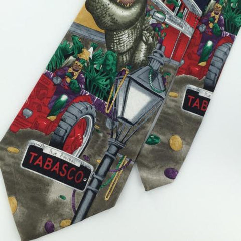 TABASCO GRAY NAVY Mardi Gras Parade Street LIGHT NOVELTY Silk Neck Tie N2-5