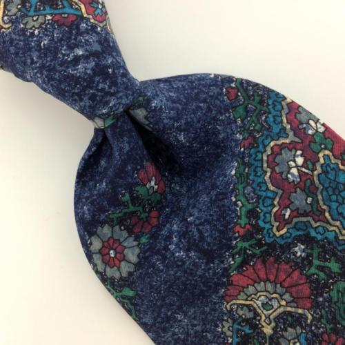 KUPPENHEIMER US MADE NAVY BLUE Turquoise FLORAL Silk Classic Necktie I2-368 Ties
