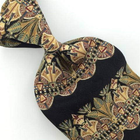 ALDO PONTI BLACK GREEN Art Nouveau Floral STRIPED Silk Men Tie H2-389 Necktie